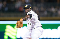 Charlotte Knights relief pitcher Maikel Cleto (43) in action against the Scranton\Wilkes-Barre RailRiders at BB&T BallPark on May 1, 2015 in Charlotte, North Carolina.  The RailRiders defeated the Knights 5-4.  (Brian Westerholt/Four Seam Images)