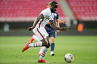 ZAPOPAN, MEXICO - MARCH 21: Benji Michel #14 of the United States dribbles with the ball during a game between Dominican Republic and USMNT U-23 at Estadio Akron on March 21, 2021 in Zapopan, Mexico.