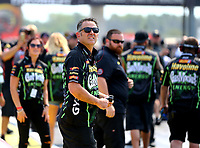 Sep 4, 2017; Clermont, IN, USA; Crew members for NHRA pro stock driver Alex Laughlin during the US Nationals at Lucas Oil Raceway. Mandatory Credit: Mark J. Rebilas-USA TODAY Sports