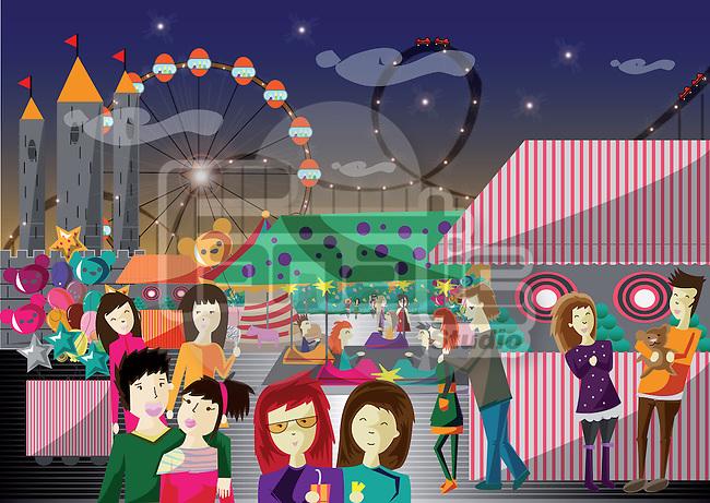Teenagers having fun in an amusement park
