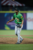 Down East Wood Ducks relief pitcher Abdiel Mendoza (22) reacts after getting the third out of an inning during the game against the Kannapolis Cannon Ballers at Atrium Health Ballpark on May 5, 2021 in Kannapolis, North Carolina. (Brian Westerholt/Four Seam Images)