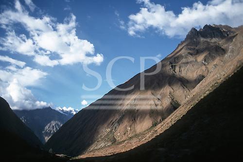 Huayllabamba Valley, Inca Trail, Peru. Andean valley landscape.