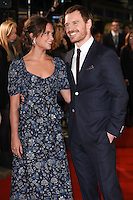 """Alicia Vikander and Michael Fassbender<br /> at the premiere of """"The Light Between Oceans"""" at the Curzon Mayfair, London.<br /> <br /> <br /> ©Ash Knotek  D3184  19/10/2016"""