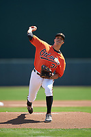 Baltimore Orioles starting pitcher Ubaldo Jimenez (31) delivers a pitch during a Spring Training game against the Minnesota Twins on March 7, 2016 at Ed Smith Stadium in Sarasota, Florida.  Minnesota defeated Baltimore 3-0.  (Mike Janes/Four Seam Images)