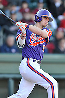 Right fielder Seth Beer (28) of the Clemson Tigers bats in the Reedy River Rivalry game against the South Carolina Gamecocks on Saturday, March 5, 2016, at Fluor Field at the West End in Greenville, South Carolina. Clemson won, 5-0. (Tom Priddy/Four Seam Images)