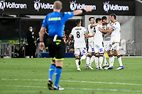 30th December 2020; Bankwest Stadium, Parramatta, New South Wales, Australia; A League Football, Western Sydney Wanderers versus Macarthur FC; Benat Etxebarria Urkiaga of Macarthur FC celebrates with teammates after scoring to make it 1-0 in the 73rd minute as referee Kurt Ams signals the goal, the goal was later credited to Mark Milligan