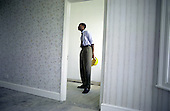 A Haringey Council trainee Environmental Health Officer inspects an unoccupied house in Tottenham, North London.