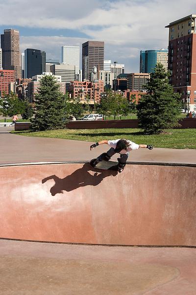 Skateboarder in Denver Skatepark, Colorado, USA John offers private photo tours of Denver, Boulder and Rocky Mountain National Park. .  John offers private photo tours in Denver, Boulder and throughout Colorado. Year-round.