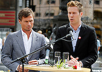 (Oslo July 26, 2011)  AUF-leader Eskil Pedersen (right) and businessman Petter Stordalen announce plans to rehabilitate Utøya island following the terrorist attack. ..A large vehicle bomb was detonated near the offices of Norwegian Prime Minister Jens Stoltenberg on 22 July 2011. .Another terrorist attack took place shortly afterwards, where a man killed 68 people, mainly children and youths attending a political camp at Utøya island. ..Anders Behring Breivik was arrested on the island and has admitted to carrying out both attacks..(photo:Fredrik Naumann/Felix Features)