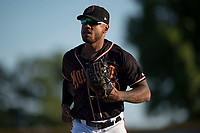 Modesto Nuts right fielder Gareth Morgan (44) jogs off the field between innings of a California League game against the San Jose Giants at John Thurman Field on May 9, 2018 in Modesto, California. San Jose defeated Modesto 9-5. (Zachary Lucy/Four Seam Images)