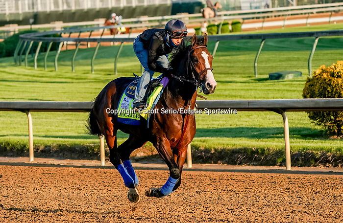 April 27, 2021: Hozier exercises in preparation for the Kentucky Derby at Churchill Downs on April 27, 2021 in Louisville, Kentucky. Scott Serio/Eclipse Sportswire/CSM