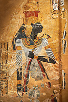 Egyptian painting on stucco of the defied queen Ahmose-Nofretari. 11152-1145BC, Thebes, Grab Nr 359. Neues  Museum, Berlin. Cat No AM2060