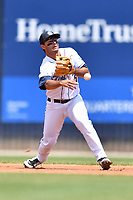 Asheville Tourists shortstop Coco Montes (5) throws to second base during a game against the Lakewood BlueClaws at McCormick Field on June 16, 2019 in Asheville, North Carolina. The BlueClaws defeated the Tourists 6-5. (Tony Farlow/Four Seam Images)
