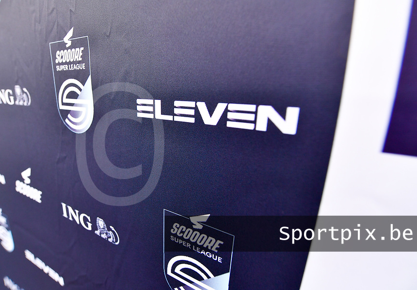 illustration picture showing the super league banner with the Eleven Sports logo on it during a female soccer game between Club Brugge Dames YLA and Zulte Waregem Ladies on the third matchday of the 2020 - 2021 season of Belgian Scooore Womens Super League , saturday 3 October 2020  in Brugge , Belgium . PHOTO SPORTPIX.BE | SPP | DAVID CATRY
