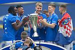 15.05.2021 Rangers v Aberdeen: Filip Helander with the SPFL Premiership league trophy along with Calvin Bassey, Bongani Zungu, Cedric Itten and Borna Barisic