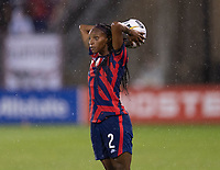 EAST HARTFORD, CT - JULY 1: Crystal Dunn #2 of the USWNT throws the ball in during a game between Mexico and USWNT at Rentschler Field on July 1, 2021 in East Hartford, Connecticut.
