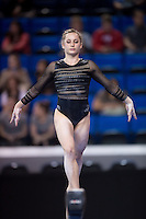 LOS ANGELES, CA - April 19, 2013:  Stanford's Kristina Vaculik competes on beam during the NCAA Championships at UCLA.
