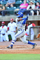 Bluefield Blue Jays second baseman Jose Theran (16) runs to first base during a game against the Greeneville Reds at Pioneer Park on June 30, 2018 in Greeneville, Tennessee. The Blue Jays defeated the Red 7-3. (Tony Farlow/Four Seam Images)