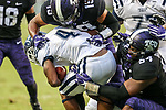 Jackson State Tigers wide receiver Jairus Moll (4) in action during the game between the Jackson State Tigers and the TCU Horned Frogs at the Amon G. Carter Stadium in Fort Worth, Texas.