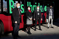 The CEO of Daimler Buses and Evo Bus Italia Heinz Friederich, the Mayor of Rome Virginia Raggi and the city councilor Enrico Stefano (last right) during the presentation of a new fleet of hybrid public buses. <br /> Rome (Italy), November  27th 2020<br /> Photo Samantha Zucchi Insidefoto