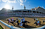 MAY 2, 2015:The field passes the stands for the first time in the 141st running of the Kentucky Derby at Churchill Downs in Louisville, Kentucky. Scott Serio/ESW/CSM