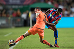 Crystal Palace midfielder Aaron Wan-Bissaka (R) fights for the ball with Liverpool FC midfielder James Milner (L) during the Premier League Asia Trophy match between Liverpool FC and Crystal Palace FC at Hong Kong Stadium on 19 July 2017, in Hong Kong, China. Photo by Yu Chun Christopher Wong / Power Sport Images