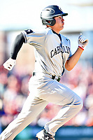 South Carolina Gamecocks third baseman Jonah Bride (20) runs to first base during a game against the Clemson Tigers at Fluor Field on March 3, 2018 in Greenville, South Carolina. The Tigers defeated the Gamecocks 5-1. (Tony Farlow/Four Seam Images)