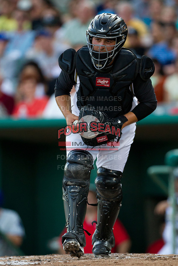Ali Solis (4) of the San Antonio Missions heads to the dugout after a third strike call during a game against the North All-Stars 2011 in the Texas League All-Star game at Nelson Wolff Stadium on June 29, 2011 in San Antonio, Texas. (David Welker / Four Seam Images)..