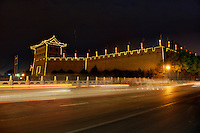 Ramparts of the South Gate pavilion by night, along the Fortifications of Xi'an, Xi'an, Shaanxi, China.