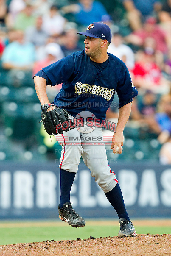 Starting pitcher Oliver Perez #47 of the Harrisburg Senators in action against the Richmond Flying Squirrels in game one of a double-header at The Diamond on July 22, 2011 in Richmond, Virginia.  The Squirrels defeated the Senators 3-1.   (Brian Westerholt / Four Seam Images)