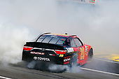 2017 NASCAR Xfinity Series<br /> My Bariatric Solutions 300<br /> Texas Motor Speedway, Fort Worth, TX USA<br /> Saturday 8 April 2017<br /> Erik Jones, Game Stop/ GAEMS Toyota Camry celebrates his win with a burnout <br /> World Copyright: Russell LaBounty/LAT Images<br /> ref: Digital Image 17TEX1rl_2575