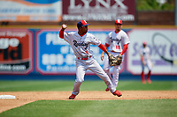 Reading Fightin Phils shortstop Malquin Canelo (6) throws to first base during the second game of a doubleheader against the Portland Sea Dogs on May 15, 2018 at FirstEnergy Stadium in Reading, Pennsylvania.  Reading defeated Portland 9-8.  (Mike Janes/Four Seam Images)