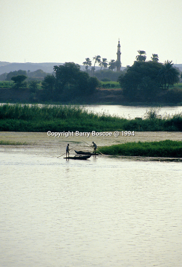 Fishing on the Nile in front of a Minaret outside of Cairo, Egypt