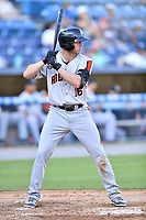Aberdeen IronBirds Jordan Westburg (16) awaits a pitch during a game against the Asheville Tourists on June 17, 2021 at McCormick Field in Asheville, NC. (Tony Farlow/Four Seam Images)