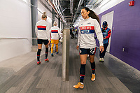 ORLANDO, FL - FEBRUARY 24: Christen Press #23 of the USWNT leaves the locker room before a game between Argentina and USWNT at Exploria Stadium on February 24, 2021 in Orlando, Florida.
