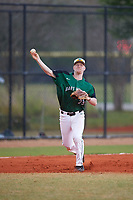 Dartmouth Big Green third baseman Steffen Torgersen (29) throws to first base during a game against the Southern Maine Huskies on March 23, 2017 at Lake Myrtle Park in Auburndale, Florida.  Dartmouth defeated Southern Maine 9-1.  (Mike Janes/Four Seam Images)