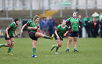 Tuesday 3rd April 2018 | Malone Women vs Ballynahinch Women<br /> <br /> Alexa Grudgings converts a penalty goal during the Easter Tuesday Ulster Womens final between Malone and Ballynahinch at Kingspan Stadium, Ravenhill Park, Belfast, Northern Ireland. Photo by John Dickson / DICKSONDIGITAL