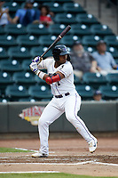 Yeyson Yrizarri (2) of the Winston-Salem Dash at bat against the Lynchburg Hillcats at BB&T Ballpark on August 1, 2019 in Winston-Salem, North Carolina. The Dash defeated the Hillcats 9-7. (Brian Westerholt/Four Seam Images)
