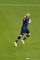 KANSAS CITY, KS - NOVEMBER 22: Johnny Russell #7 of Sporting KC celebrates his teammate's goal at the beginning of the second half before a game between San Jose Earthquakes and Sporting Kansas City at Children's Mercy Park on November 22, 2020 in Kansas City, Kansas.