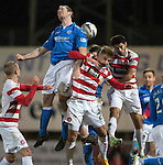 St Johnstone v Hamilton Accies...04.01.15   SPFL<br /> Frazer Wright gets above Greg Docherty<br /> Picture by Graeme Hart.<br /> Copyright Perthshire Picture Agency<br /> Tel: 01738 623350  Mobile: 07990 594431