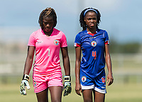 Bradenton, FL - Sunday, June 12, 2018: Madelina Fleuriot, Ruthny Mathurin prior to a U-17 Women's Championship 3rd place match between Canada and Haiti at IMG Academy. Canada defeated Haiti 2-1.