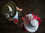 LOUISVILLE, KY - MAY 05: A women wear fancy hats and enjoy Oaks Lillies on Kentucky Derby Day at Churchill Downs on May 5, 2018 in Louisville, Kentucky. (Photo by Scott Serio/Eclipse Sportswire/Getty Images)