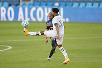 SAN JOSE, CA - SEPTEMBER 16: Eryk Williamson #30 of the Portland Timbers defends the pass of Judson #93 of the San Jose Earthquakes during a game between Portland Timbers and San Jose Earthquakes at Earthquakes Stadium on September 16, 2020 in San Jose, California.