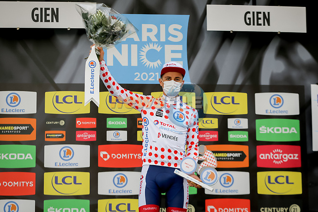 Fabien Doubey (FRA) Total Direct Energie retains the mountains Polka Dot Jersey at the end of Stage 3 of Paris-Nice 2021, an individual time trial running 14.4km around Gien, France. 9th March 2021.<br /> Picture: ASO/Fabien Boukla | Cyclefile<br /> <br /> All photos usage must carry mandatory copyright credit (© Cyclefile | ASO/Fabien Boukla)