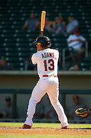 Mesa Solar Sox outfielder Caleb Adams (13) at bat during an Arizona Fall League game against the Glendale Desert Dogs on October 14, 2015 at Sloan Park in Mesa, Arizona.  Glendale defeated Mesa 7-6.  (Mike Janes/Four Seam Images)