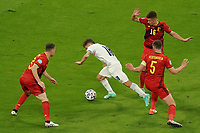 2nd July 2021; Allianz Arena, Munich, Germany; European Football Championships, Euro 2020 quarterfinals, Belgium versus Italy;  Nicolo Barella Italy beats Jan Vertoghen  and Thorgan Hazard Belgium and scores the goal to make it 1-0
