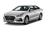2018 Hyundai Sonata Eco 4 Door Sedan angular front stock photos of front three quarter view