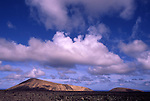 Europe, ESP, Spain, Canary Islands, Lanzarote, National park Timanfaya, Cumulus clouds, Volcanic Landscape