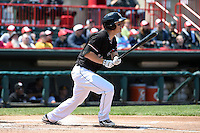 Erie SeaWolves outfielder Jason Krizan (14) at bat during a game against the Akron RubberDucks on May 18, 2014 at Jerry Uht Park in Erie, Pennsylvania.  Akron defeated Erie 2-1.  (Mike Janes/Four Seam Images)