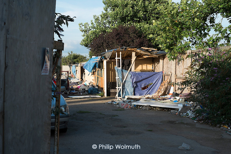 Wooden shacks on the former Hendon FC football ground in Cricklewood, London, following the eviction of 79 Romanian migrant workers who had been living at the site for several months.